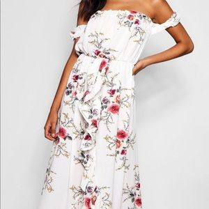 Boohoo white off the shoulder floral maxi dress